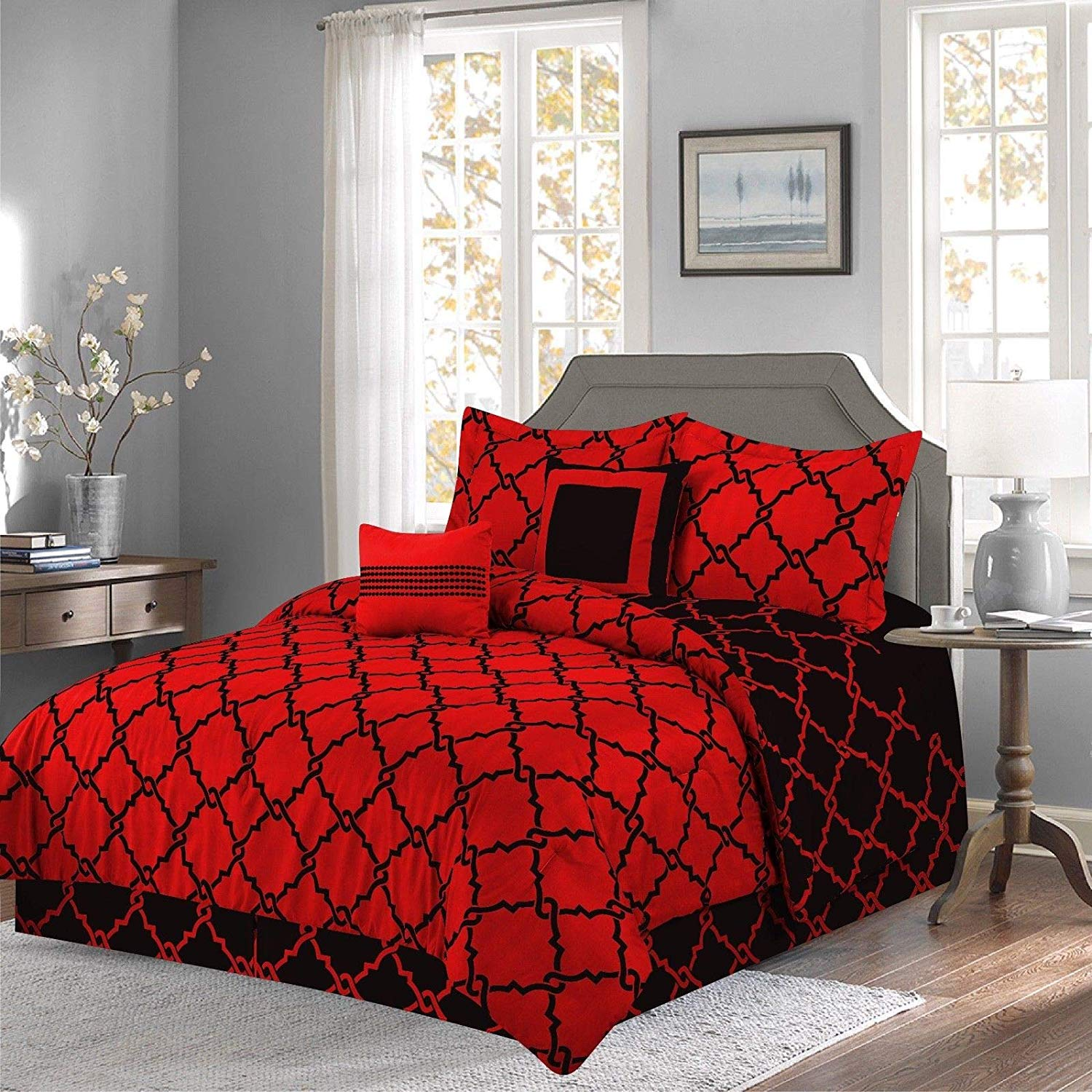 annissa collection luxurious 10 piece red geometric california king size soft comforter set bed sheets limited time sale walmart com