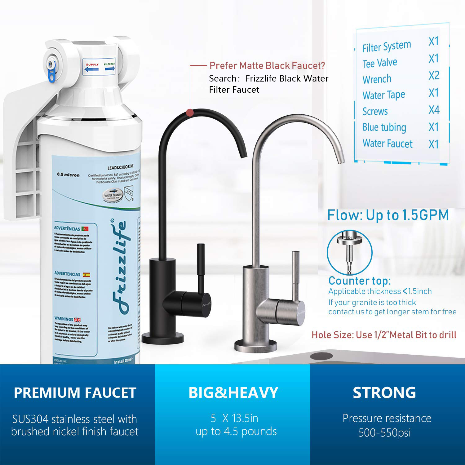 frizzlife under sink water filter quick change under counter drinking water filtration system 0 5 micron high precise removes 99 99 lead chlorine