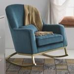 Modrn Glam Velvet Rocking Chair Teal With Satin Brass Walmart Com Walmart Com