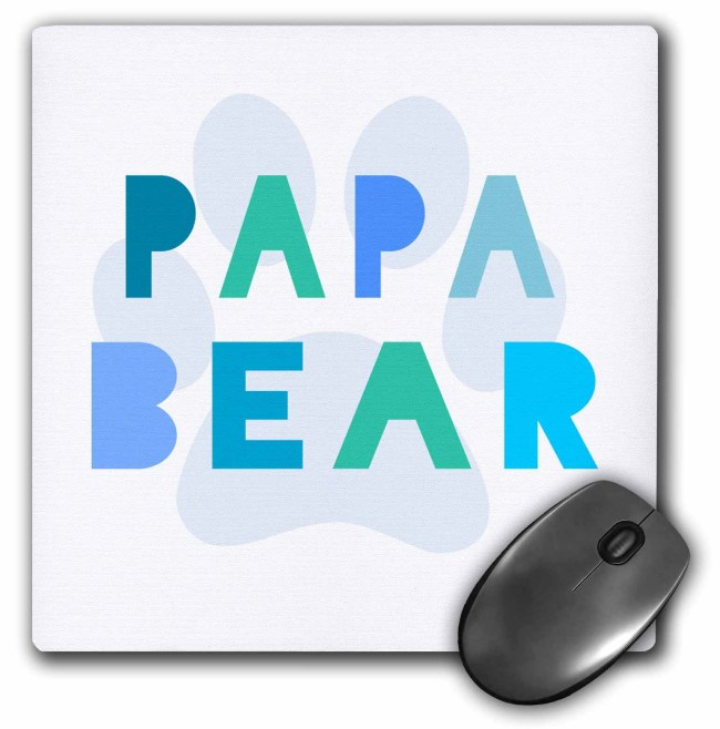 3dRose Papa bear - blue teal turquoise text paw print for dad or new daddy fathers day - part of family set, Mouse Pad, 8 by 8 inches
