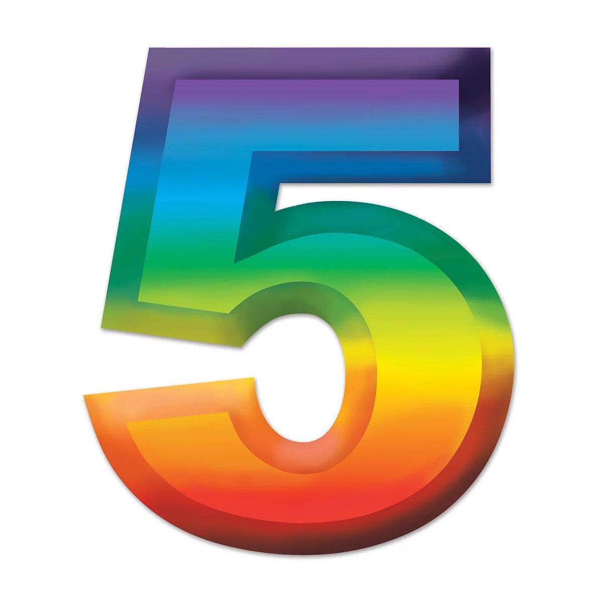 Club Pack Of 24 Bright Rainbow 3 D Number 5 Party