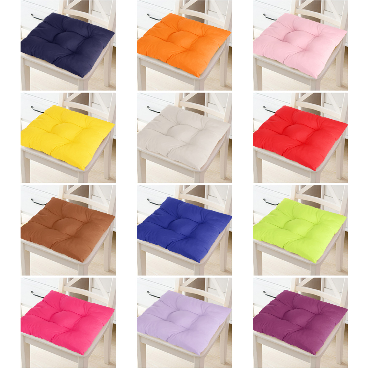 15 8 15 8 inch 12 colors soft chair seat pillow cushion pads indoor comfort sit mat with sling for garden patio home kitchen office chairs decor