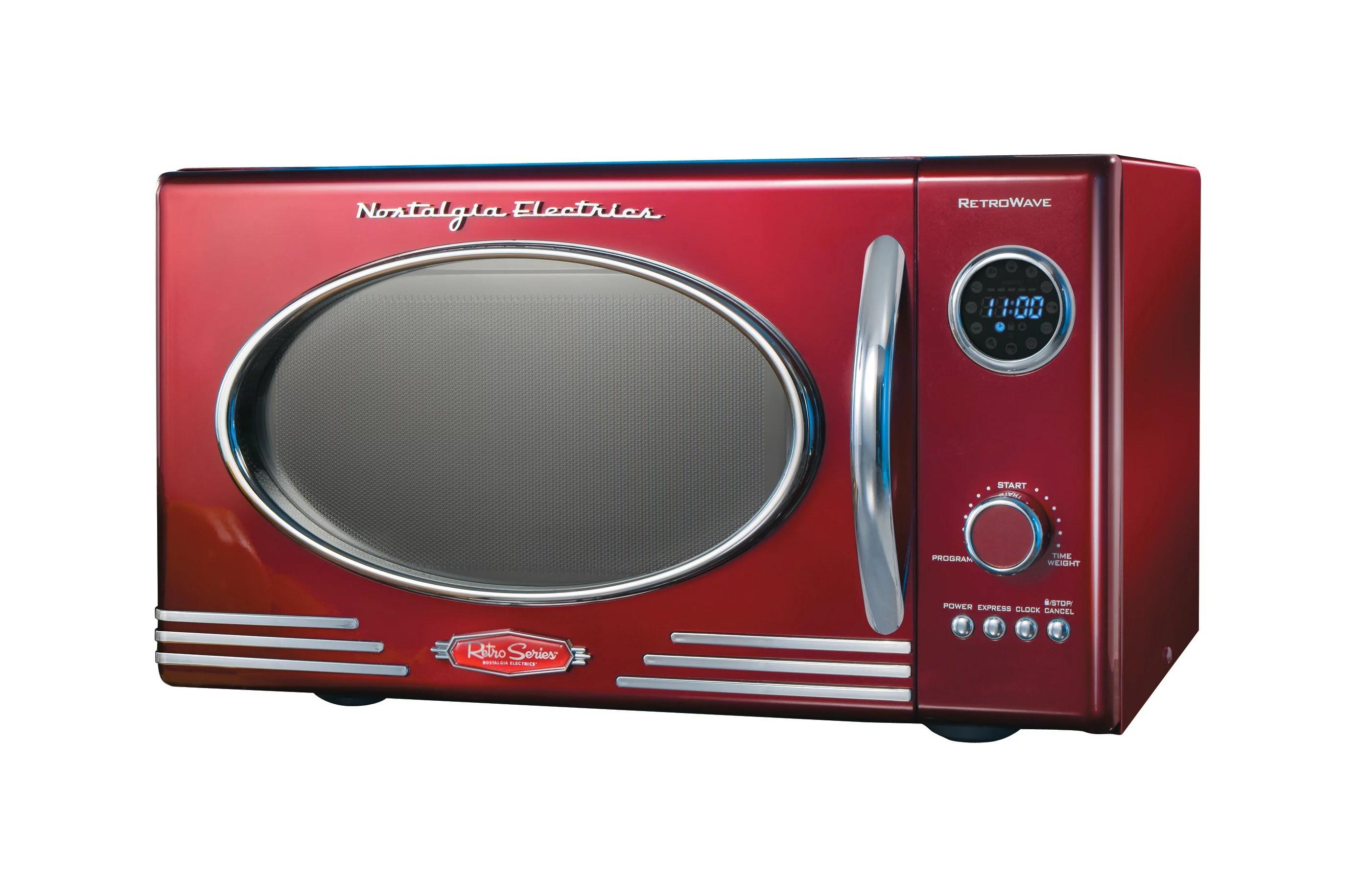 nostalgia rmo400red retro 0 9 cubic foot microwave oven walmart com walmart com
