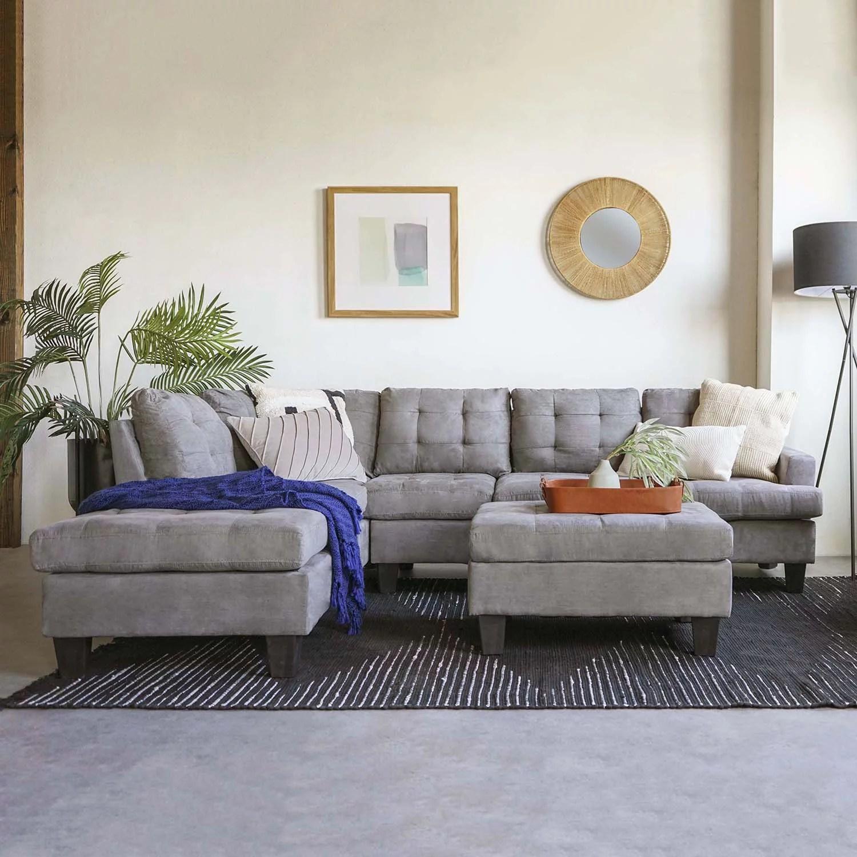 Mobilis 3 Pc Modern Reversible Tufted Microfiber Sectional Sofa With Ottoman Grey Walmart Com Walmart Com