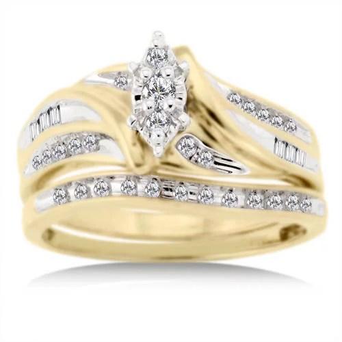 13 Carat Diamond TW Bridal Set In 10kt Yellow Gold