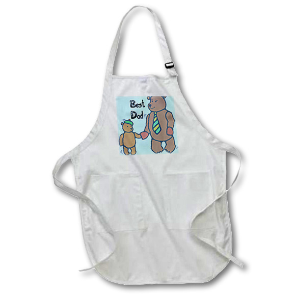 3dRose Best Dad Bears - Fathers Day - Cute Art, Full Length Apron, 22 by 30-inch, White, With Pockets
