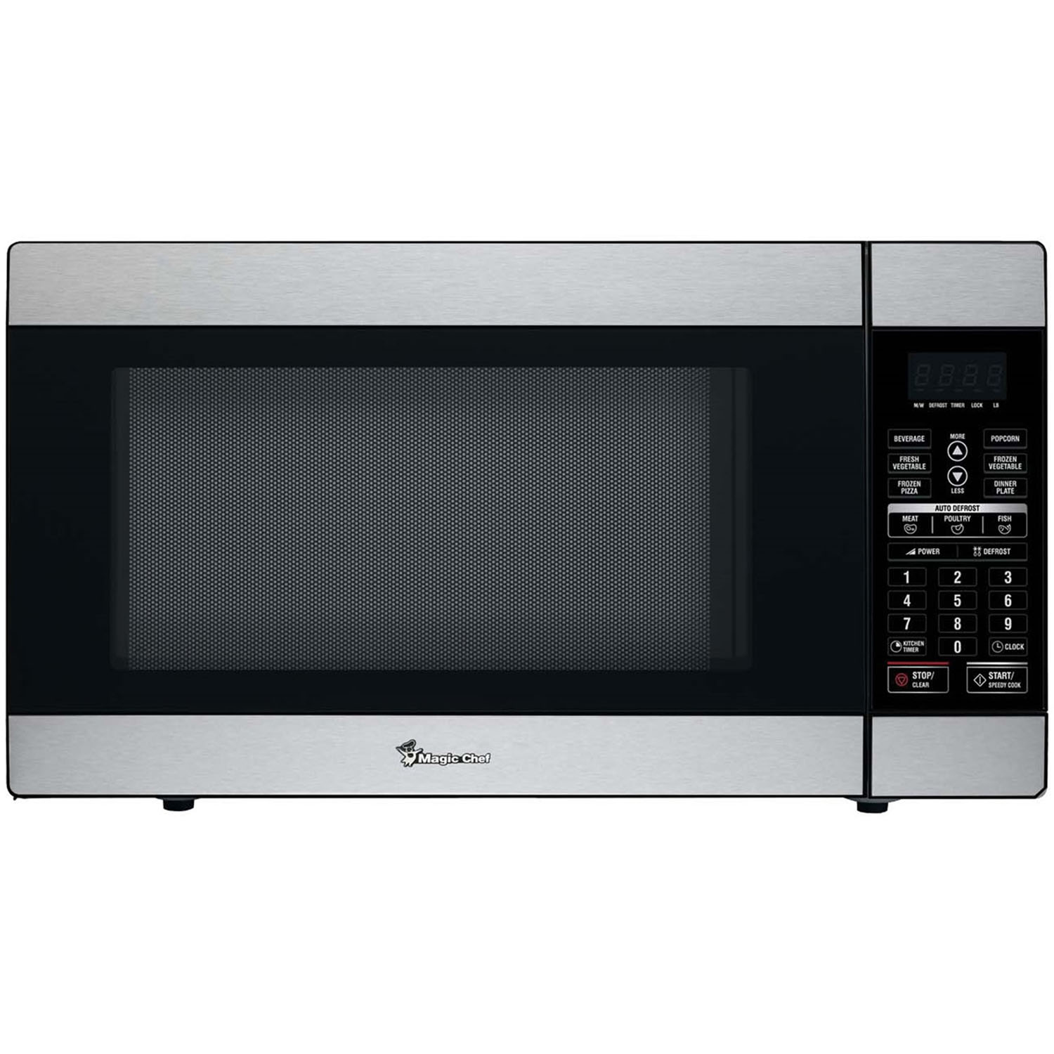 magic chef 1 8 cu ft 1100w countertop microwave oven in stainless steel
