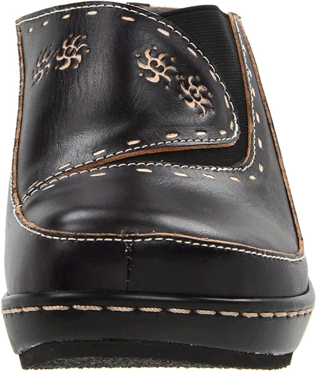 L'Artiste Women's Chino Fashion Clogs Black Leather Rubber 38 M EU 7.5-8 M