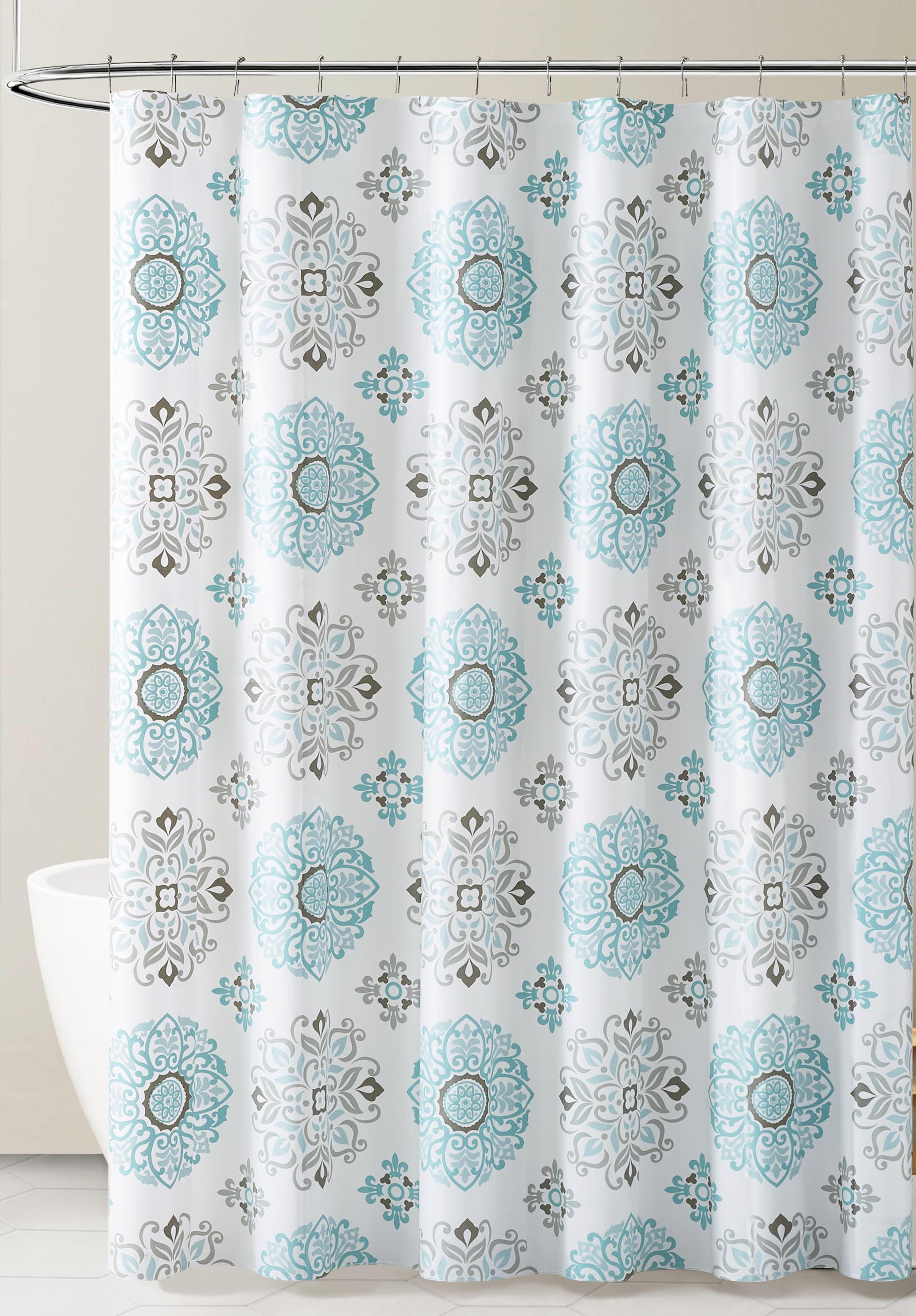 peva shower curtain liner odorless pvc and chlorine free biodegradable mildew free eco friendly size 72l blue gray and white medallion