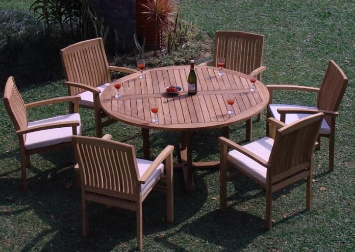 Teak Dining Set 6 Seater 7 Pc 60 Round Table And 6 Wave Stacking Arm Chairs Outdoor Patio Grade A Teak Wood Wholesaleteak Wmdswv6 Walmart Com Walmart Com