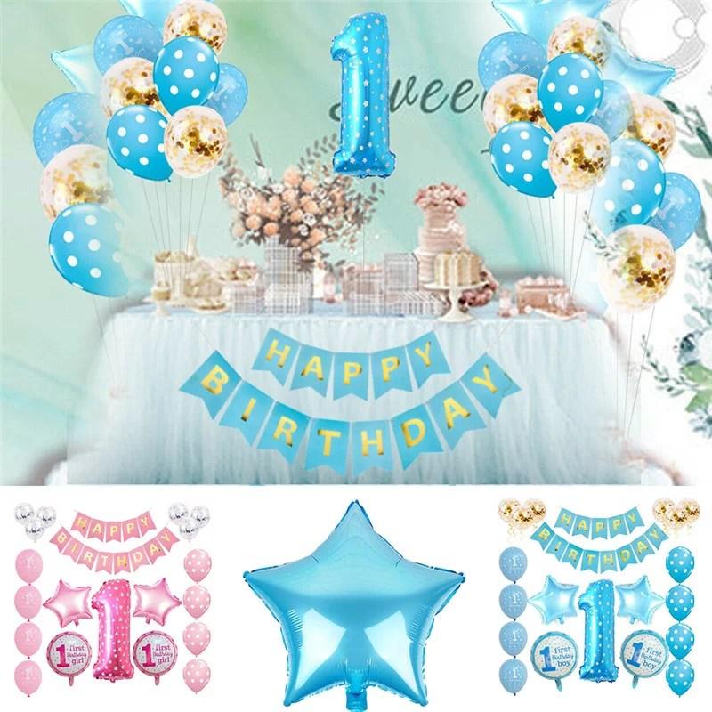1st Birthday Boy Girl Decorations Kit Baby First Birthday Decorations One Year Balloon Party Decor Gift Walmart Com Walmart Com