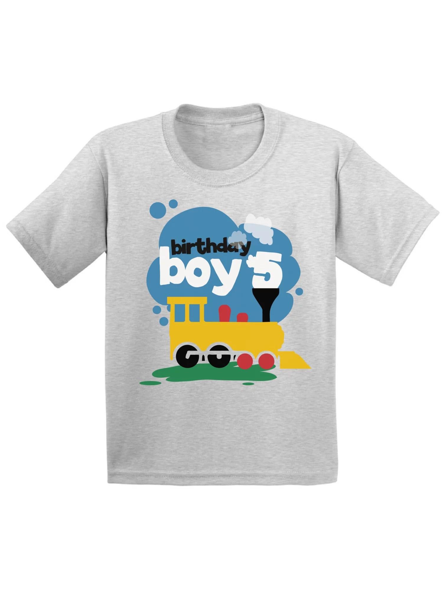 Awkward Styles Awkward Styles Toy Train Birthday Boy Youth Shirt 5th Birthday Party Tshirt For Boys Toy Truck Gifts For 5 Year Old Boy B Day Outfit Birthday Boy T Shirt Truck