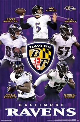 baltimore ravens team stars 22 x 34 nfl football poster