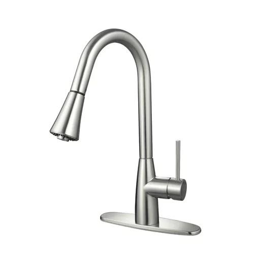 hardware house single handle gooseneck kitchen faucet with sprayer finish satin nickel