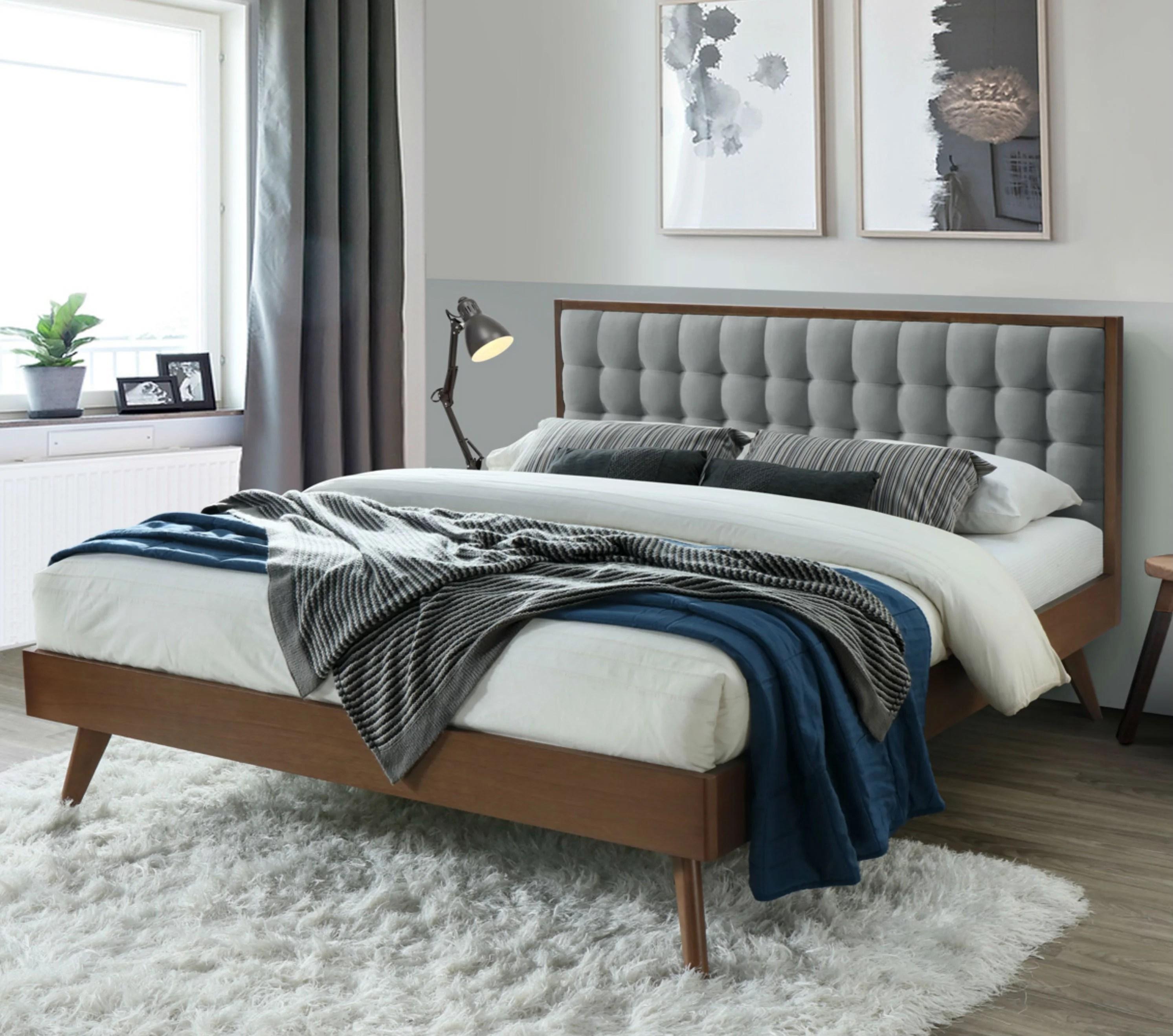 dg casa soloman mid century modern tufted upholstered platform bed frame king size in grey fabric