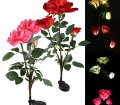 Pink Outdoor Solar Garden Stake Lights Decorative Solar Powered Lights With 3 Rose Flower Landscape Night