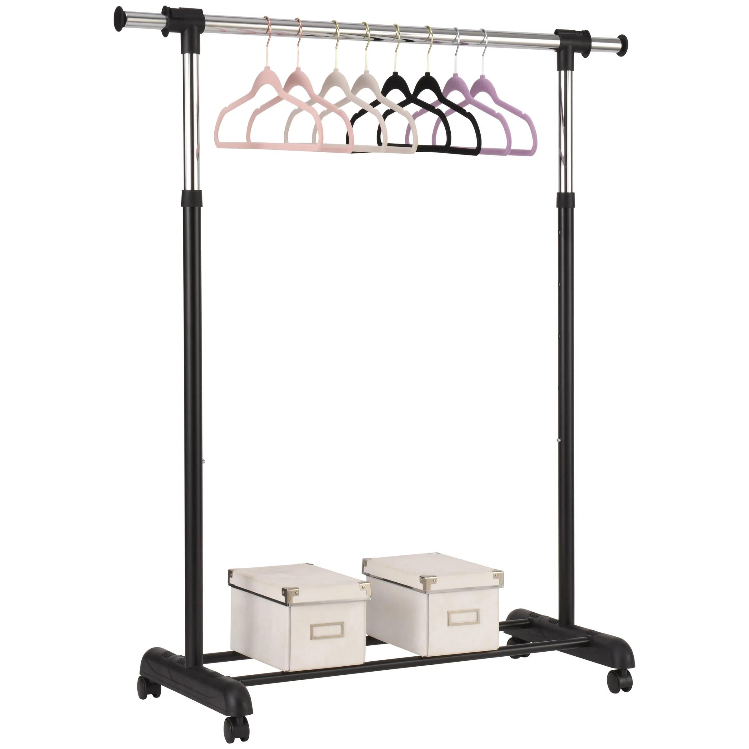 mainstays adjustable rolling garment rack chrome black