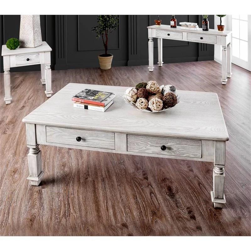 furniture of america vera rustic wood coffee table in antique white walmart com