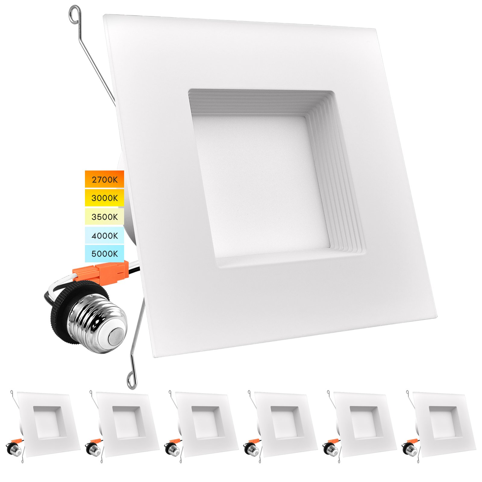 luxrite 5 6 led square recessed light 14w 90w 5 color selectable dimmable 1100 lumens wet rated baffle trim 6 pack walmart com