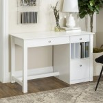 Manor Park Modern Wood Computer Desk With Keyboard Tray And Drawers White Walmart Com Walmart Com