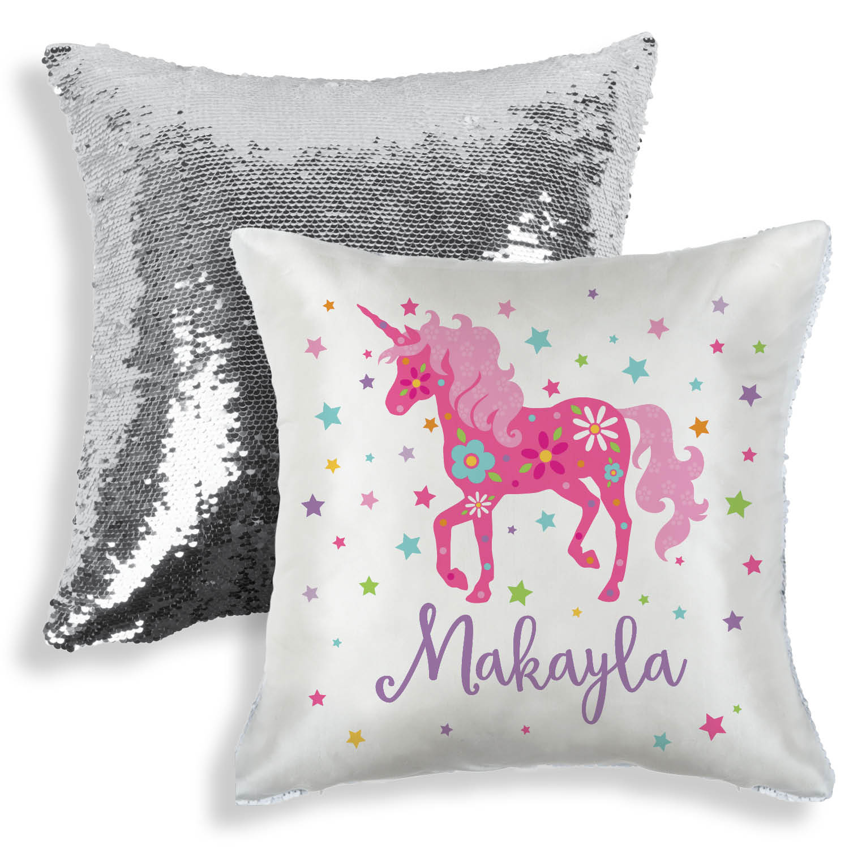 personalized sequin pillow unicorn walmart com