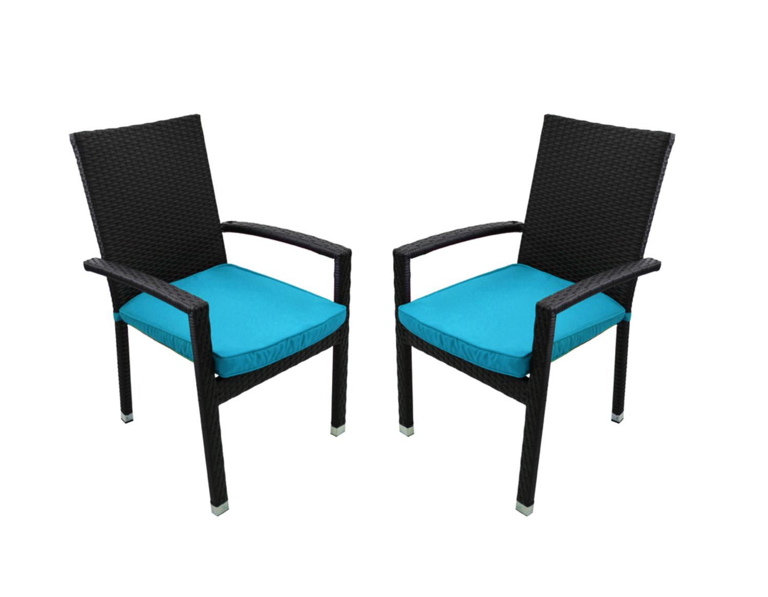 set of 2 black resin wicker outdoor patio furniture dining chairs blue cushions walmart com