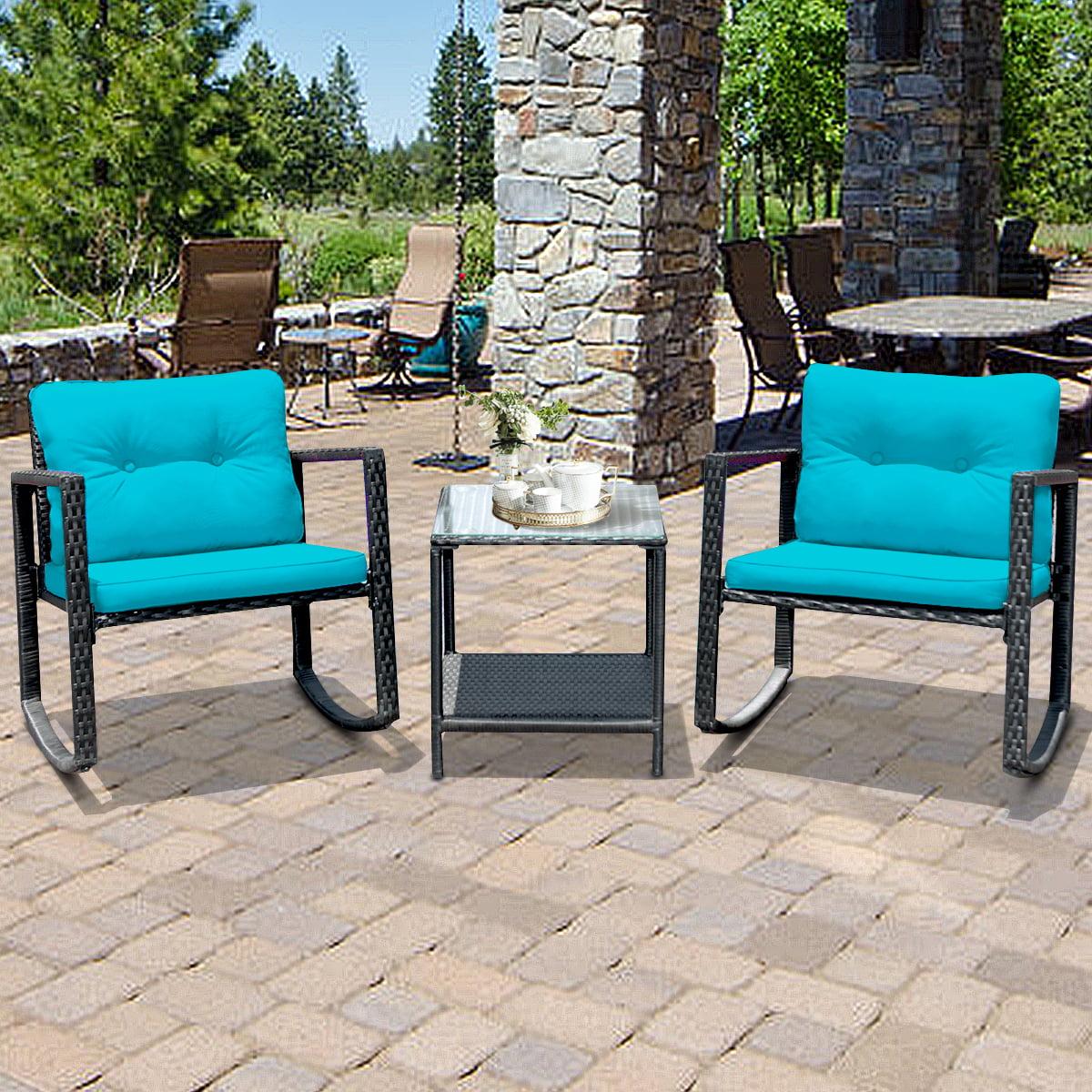 gymax 3pcs rattan rocking chair table set patio furniture set w blue cushions