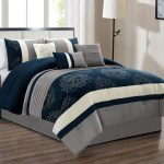 11 Pc Colton Royal Floral Damask Embroidery Pleated Comforter Curtain Set Navy Blue Gray Off White Queen Walmart Com Walmart Com
