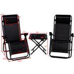 Gymax 3pc Zero Gravity Reclining Lounge Chairs Table Pillows Folding Portable Black