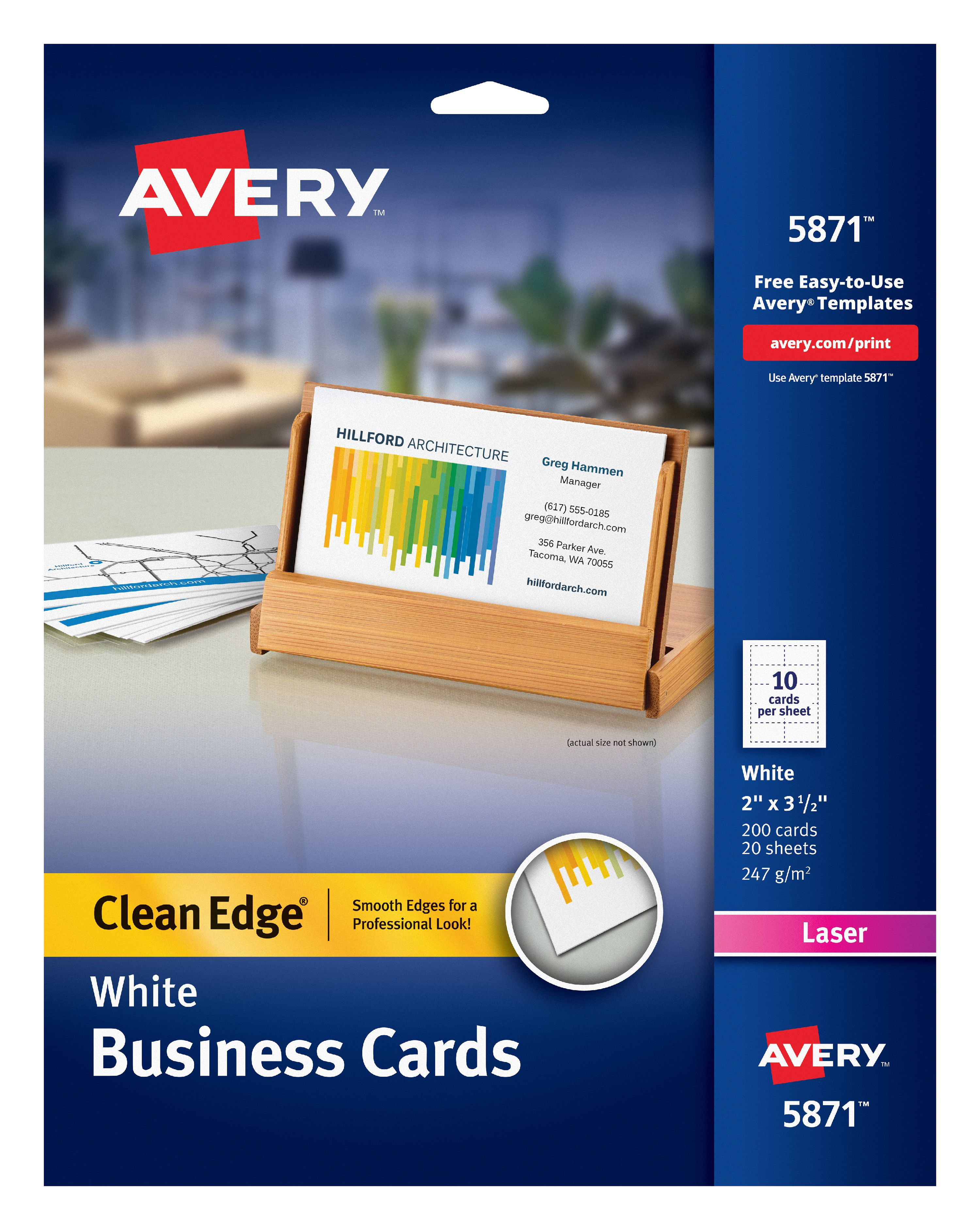 Avery Clean Edge Business Cards Matte 2 X 3 1 2 90 Cards 28878
