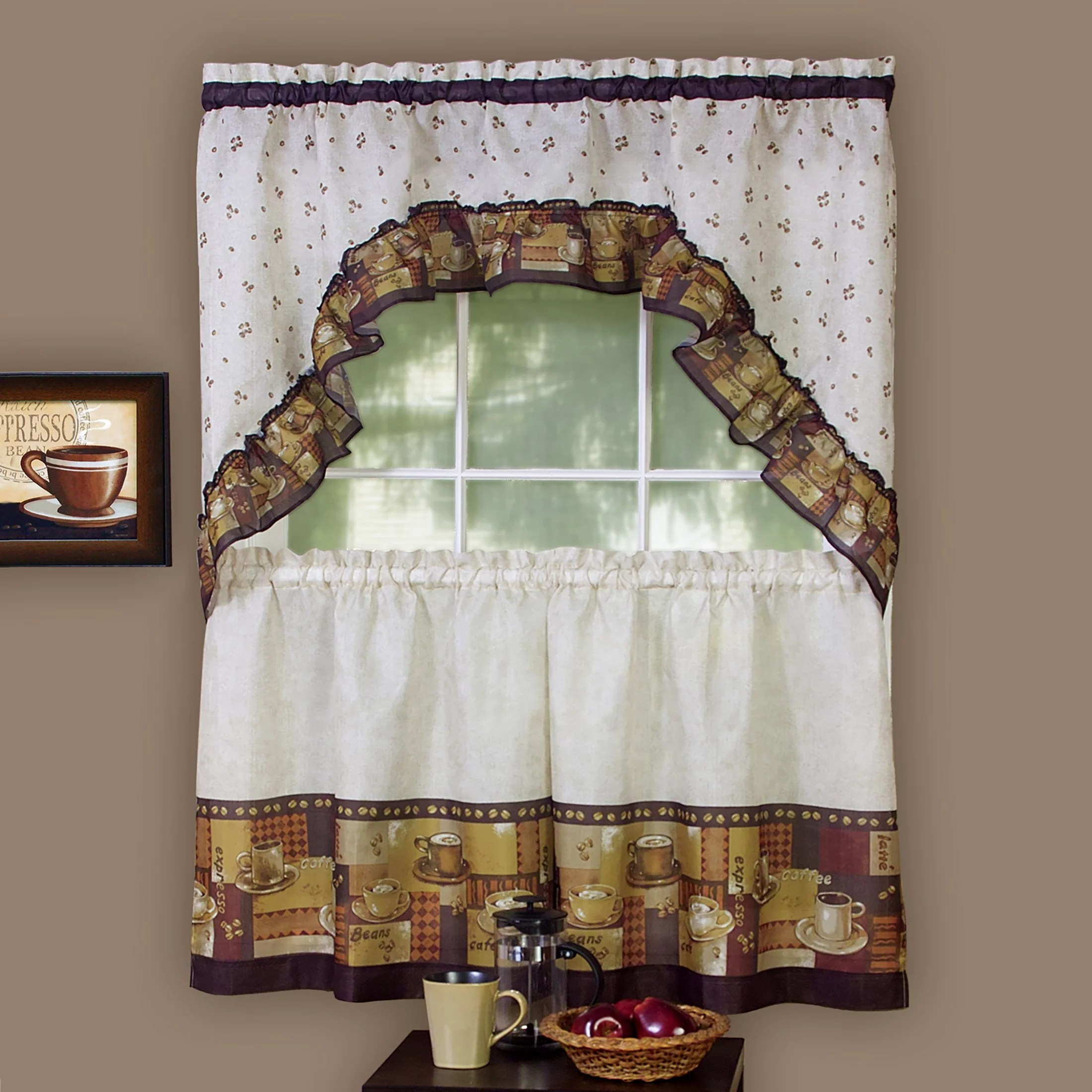 woven trends 3 piece kitchen curtain set coffee lovers kitchen decor cafe curtain with swag and tier panel set perfect window treatment for living