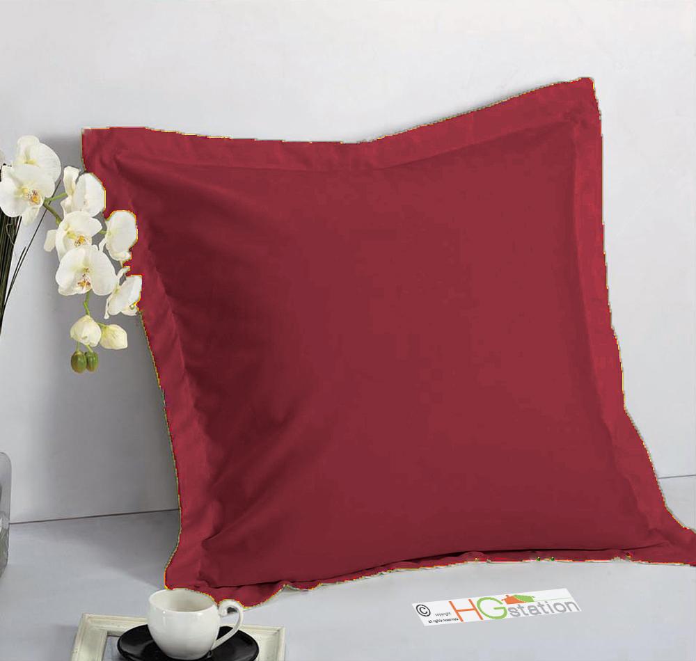 1 pair 2 pieces euro pillow shams 26 x 26 1 5 hem burgundy red machine wash dry walmart com