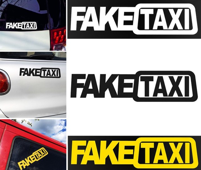 Girl12queen Funny Car Sticker Fake Taxi Drifting Sign Race Auto Vehicle Decal Decoration