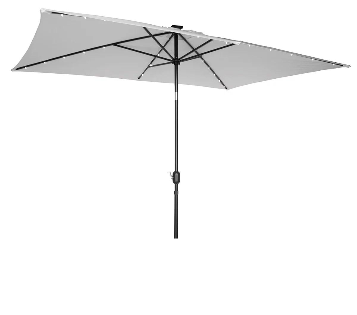 rectangular solar powered led lighted patio umbrella 10 x 6 5 by trademark innovations gray