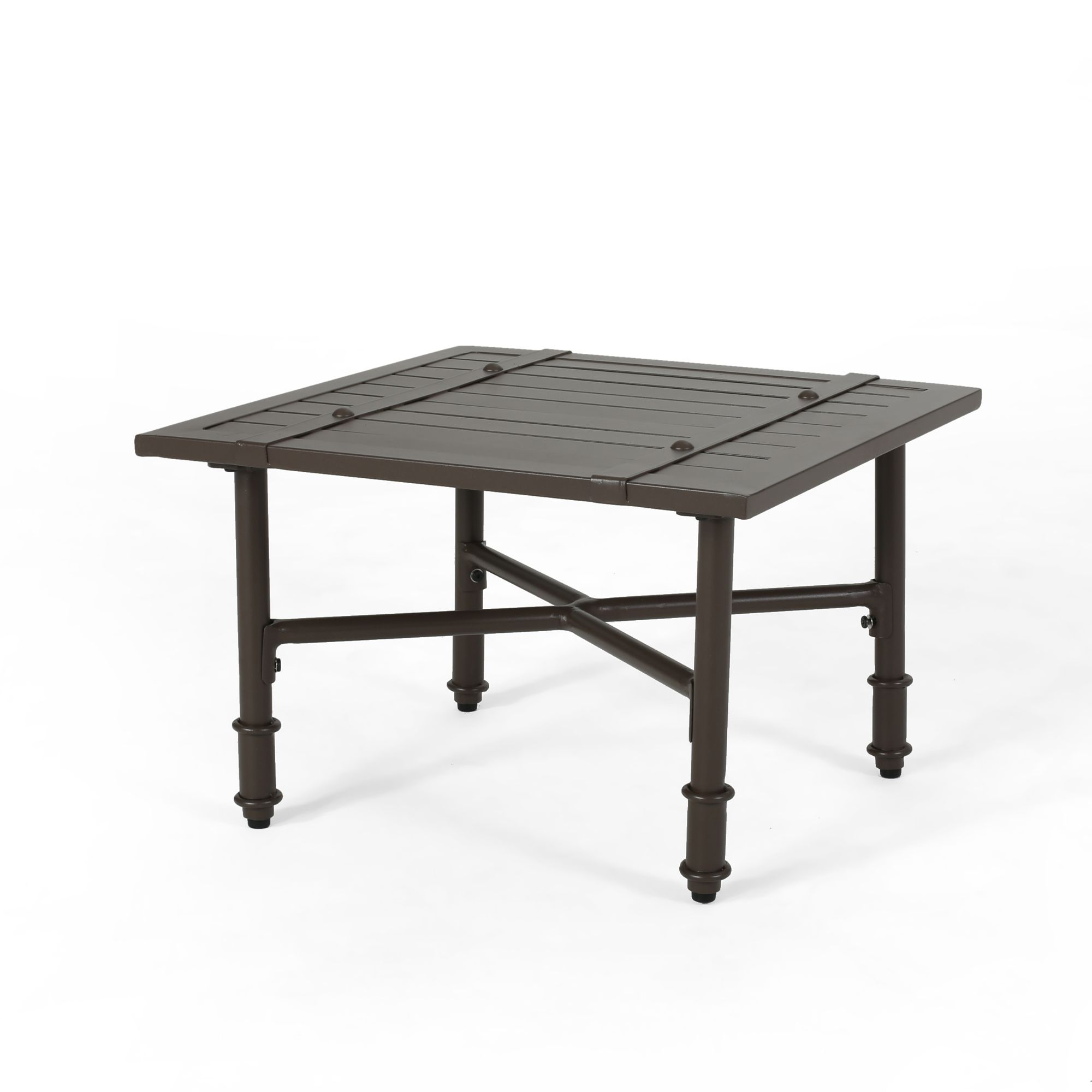 22 brown traditional square outdoor patio side table