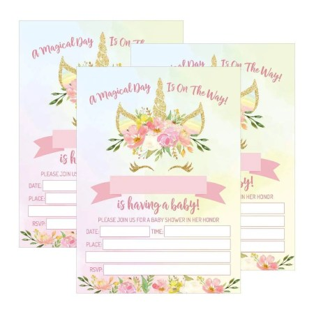 25 Pink Blush Gold Unicorn Baby Shower Invitations Cute Fl Printed Fill Or Write In The Blank Invite Flower Shabby Chic Unique Custom