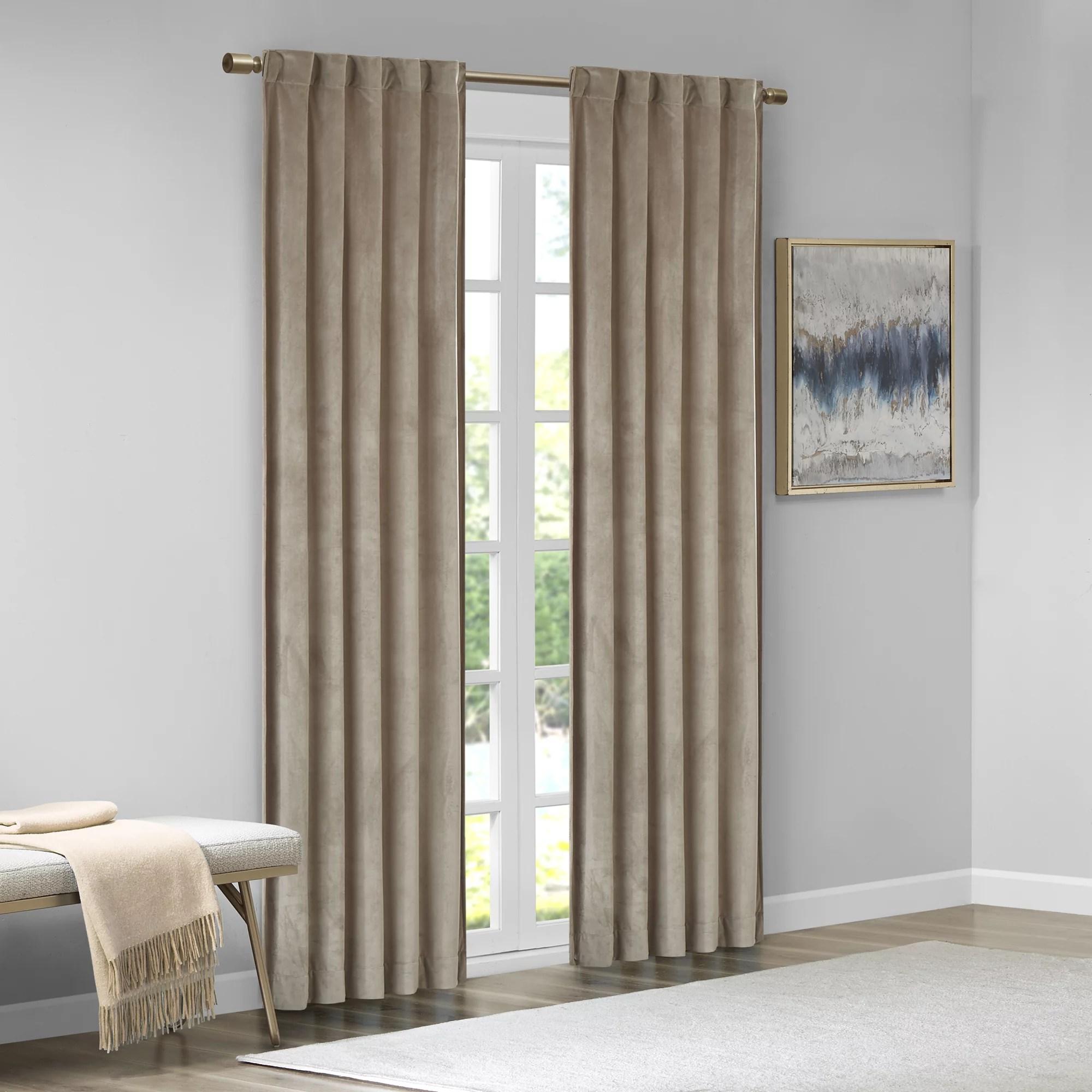510 design bryce room darkening poly velvet rod pocket back tab window panel pair