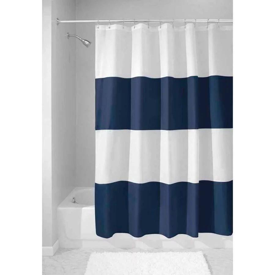 interdesign zeno fabric shower curtain standard 72 x 72 navy white