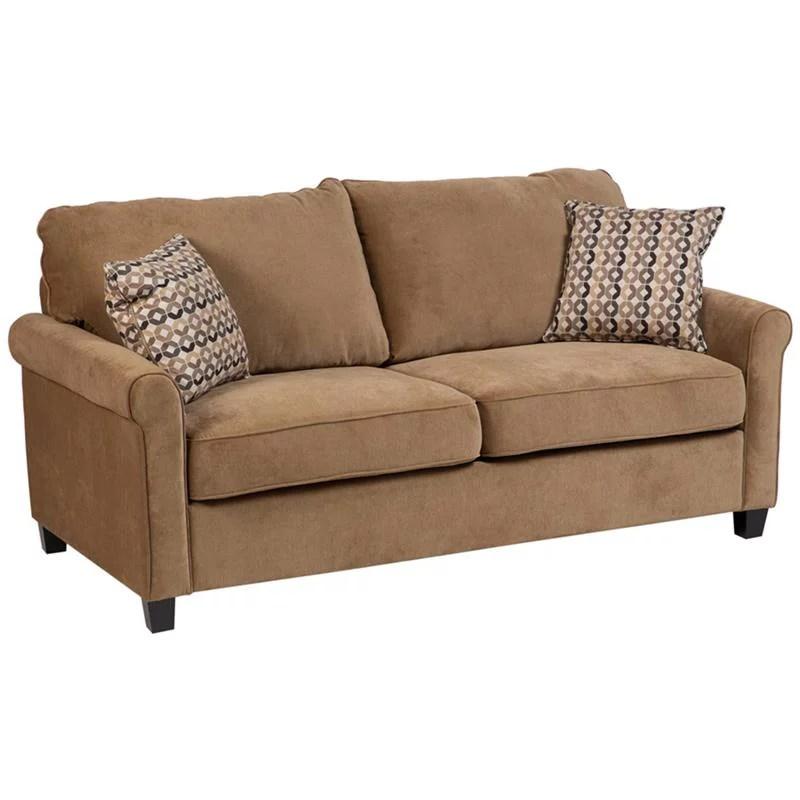 serena plush microfiber queen sleeper sofa khaki