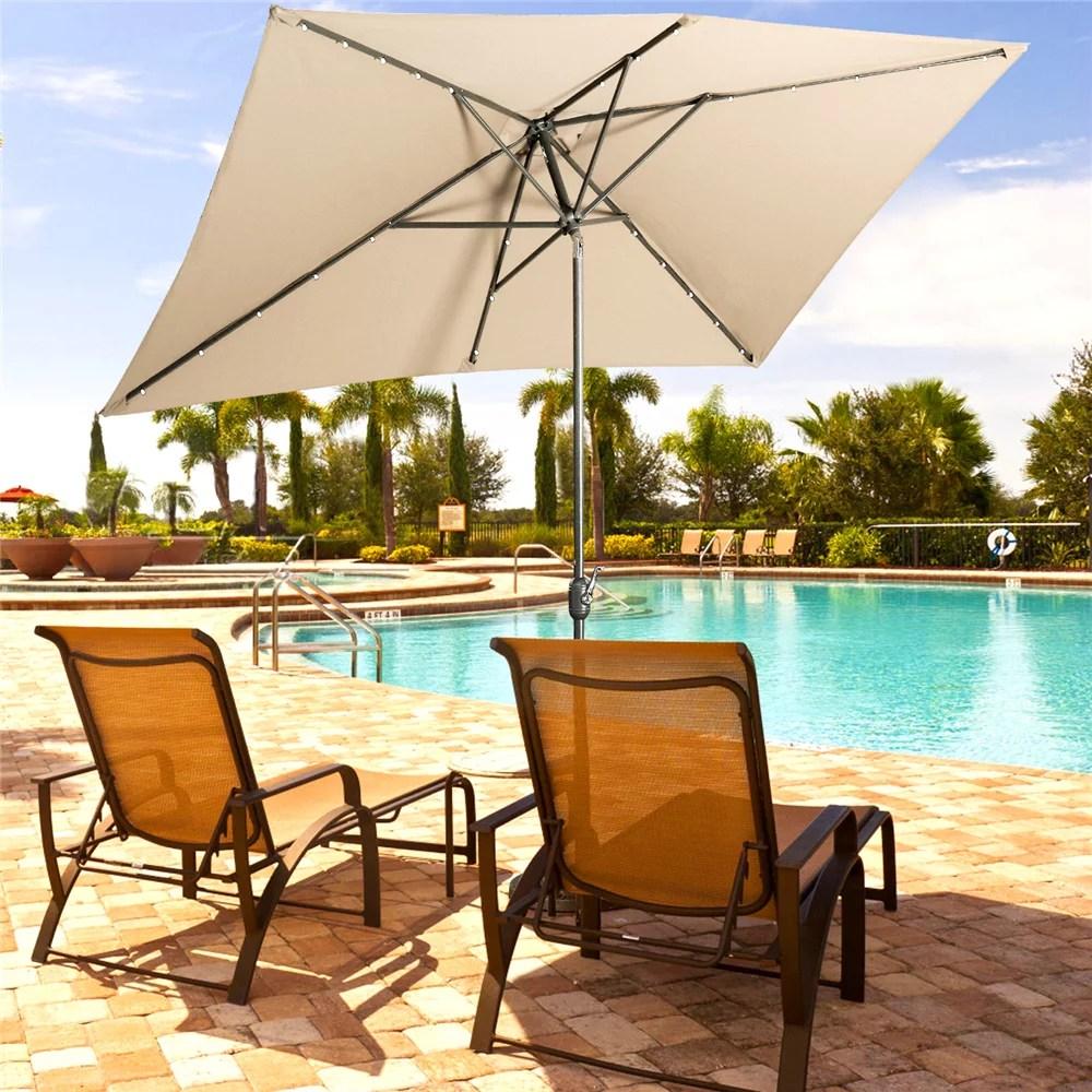 6 5 10 ft rectangular patio umbrella with solar lights outdoor table umbrella with push button tilt crank sand