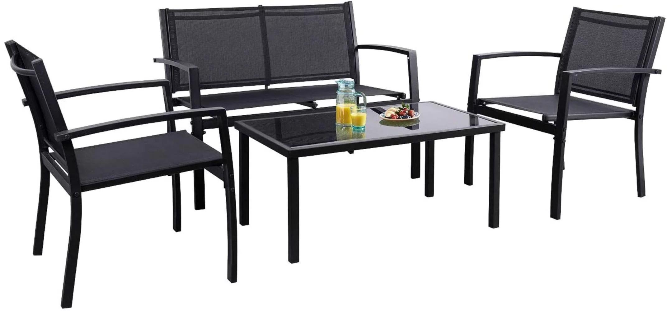 flamaker 4 pieces patio furniture outdoor furniture outdoor patio furniture set textilene bistro set modern conversation set black bistro set with