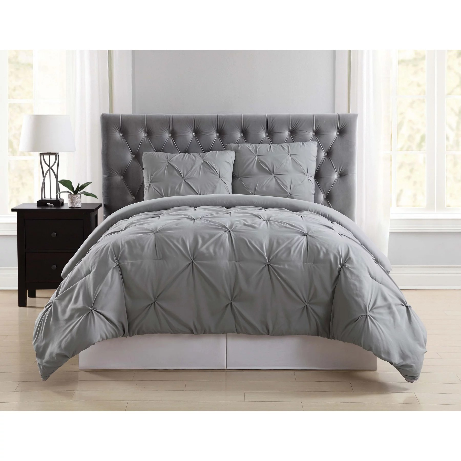 truly soft pleated grey king comforter set walmart com