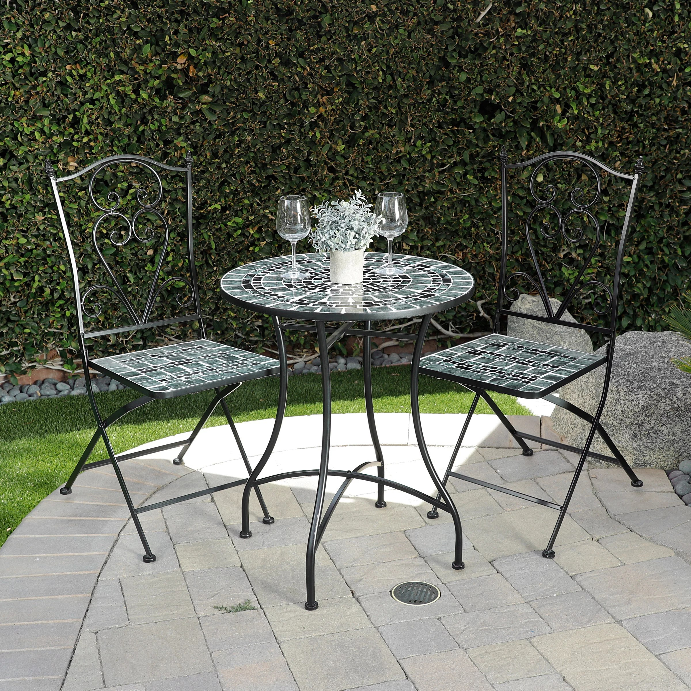 alpine outdoor marbled mosaic bistro set metal 3 piece foldable chairs