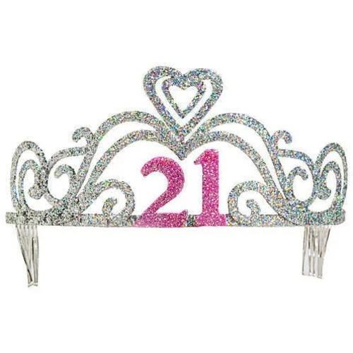 Unique Industries Plastic Glitter 21st Birthday Tiara Pink Party Favors Walmart Com Walmart Com