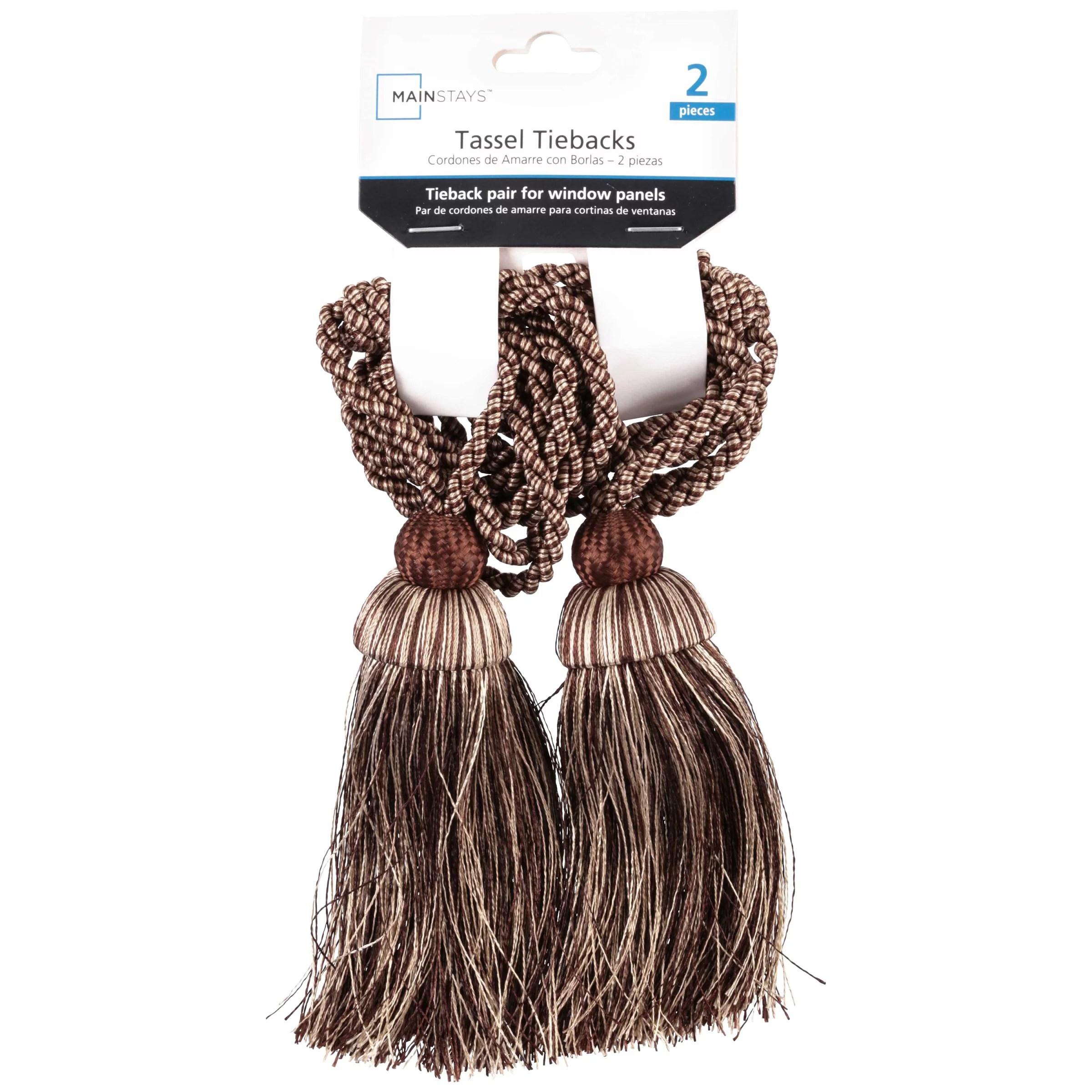 mainstays rope tassel curtain tiebacks 2 pack chocolate walmart com