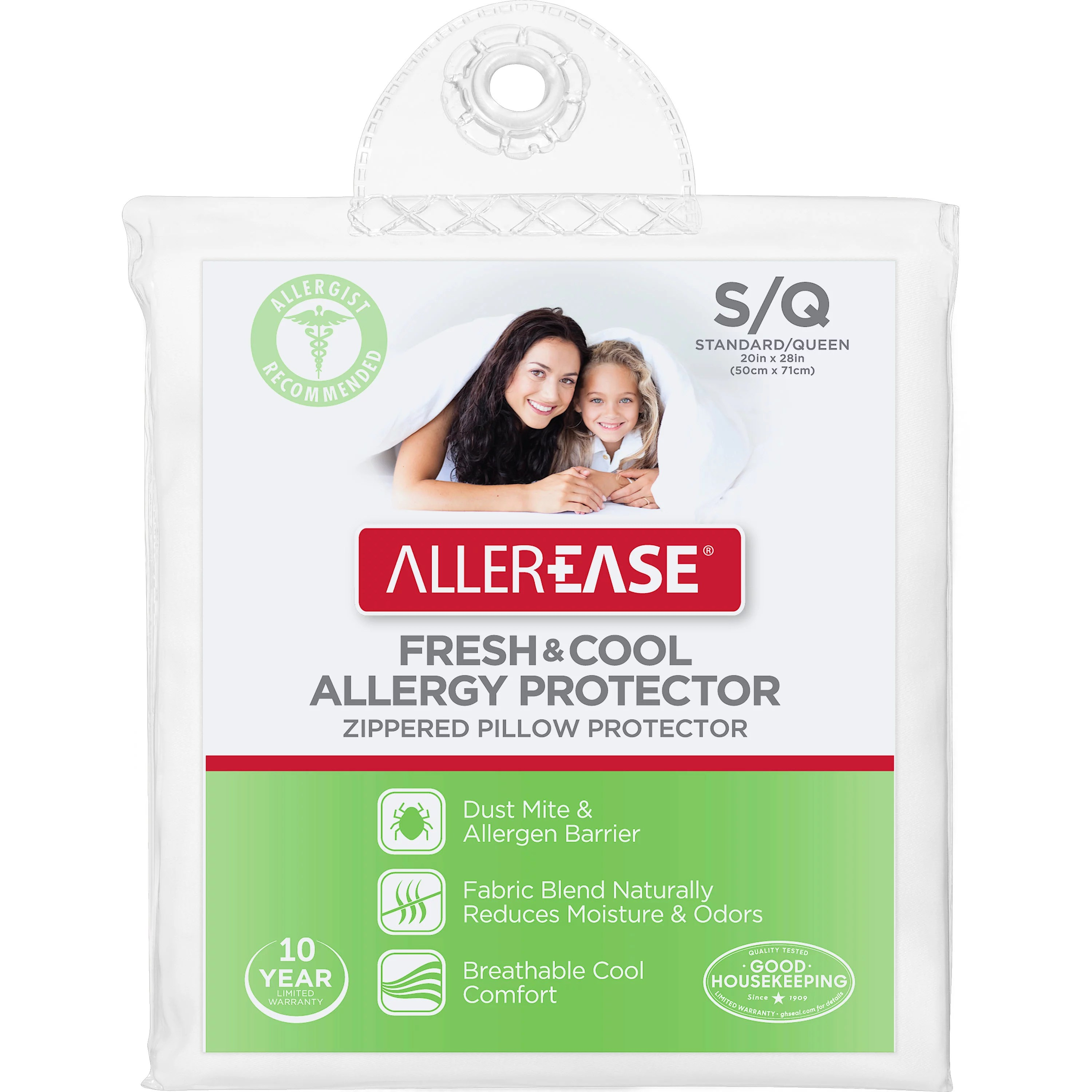 allerease fresh cool allergy protector zippered pillow protector standard queen