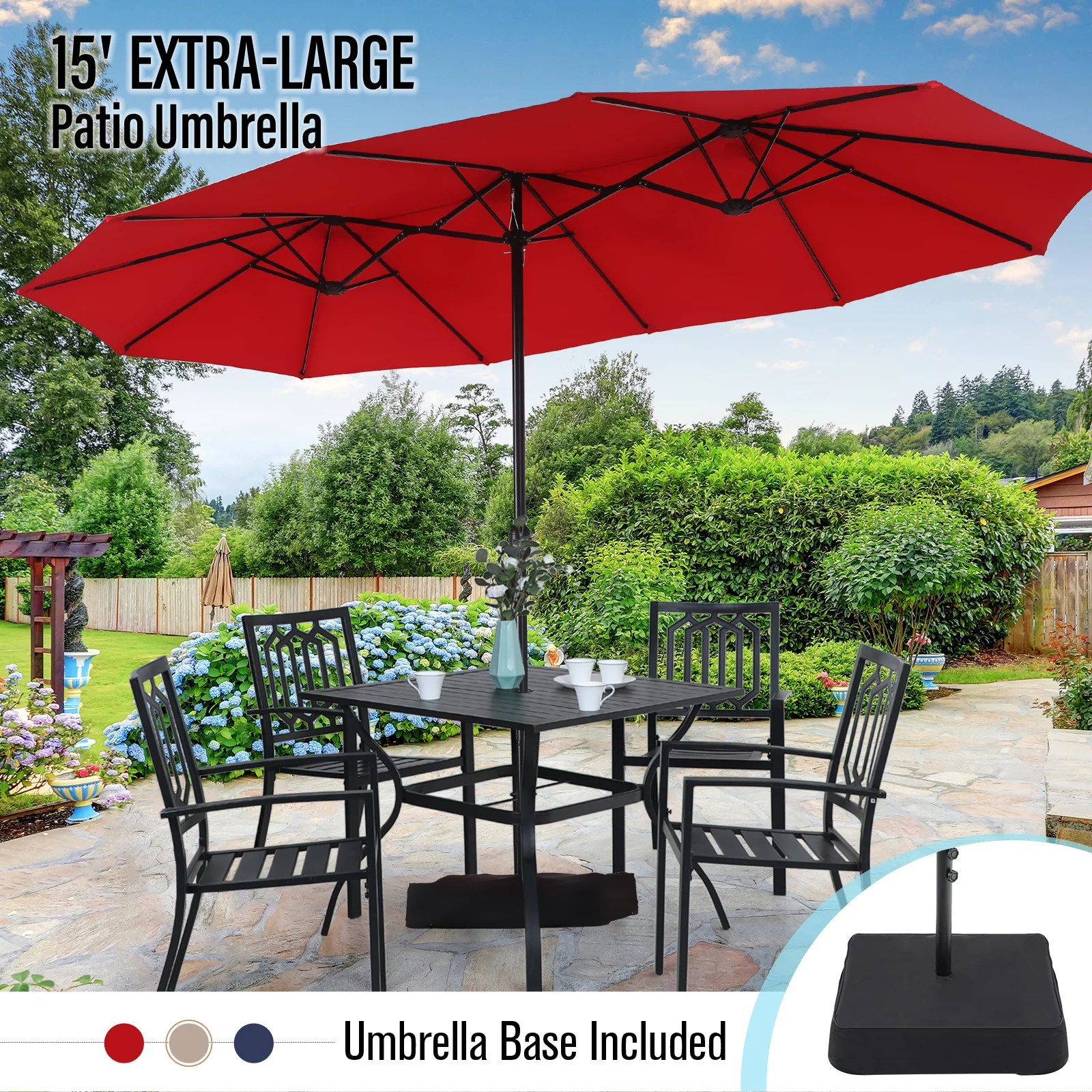 mf studio 15ft double sided patio umbrella with base large outdoor table umbrella red walmart com