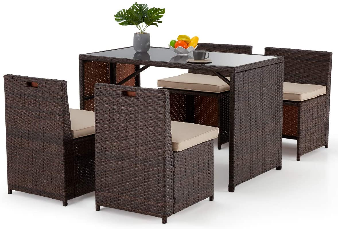 erommy 5 pieces patio dining set space saving rattan chairs with glass table outdoor patio furniture