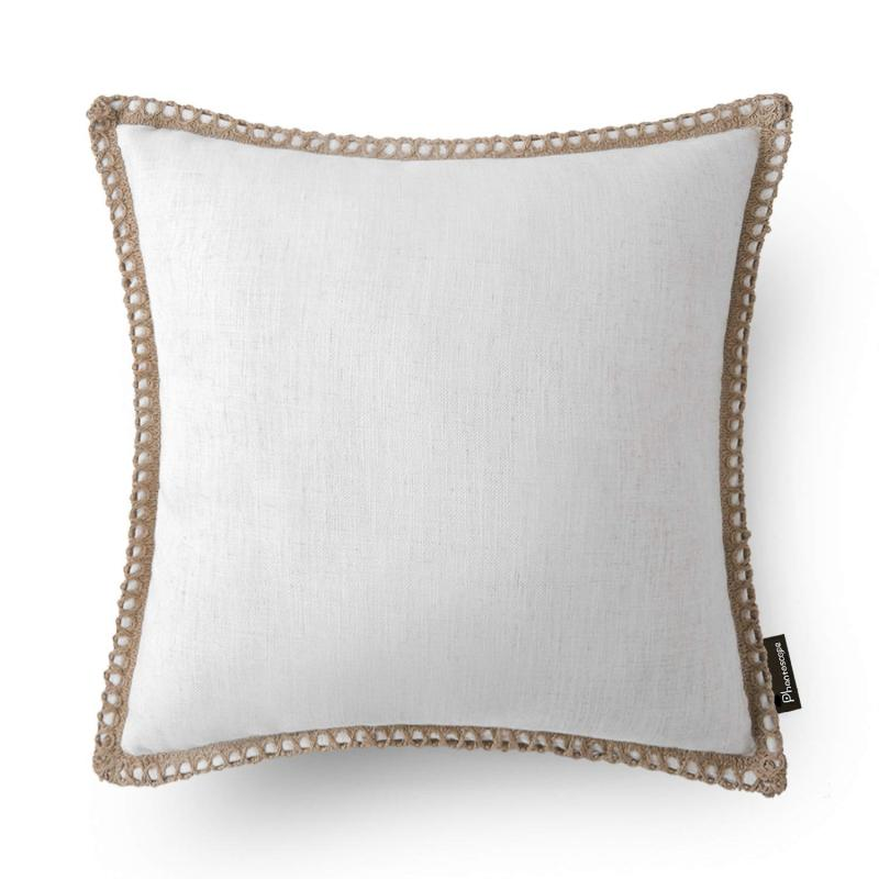 phantoscope linen trimmed farmhouse series decorative throw pillow 18 x 18 off white 1 pack