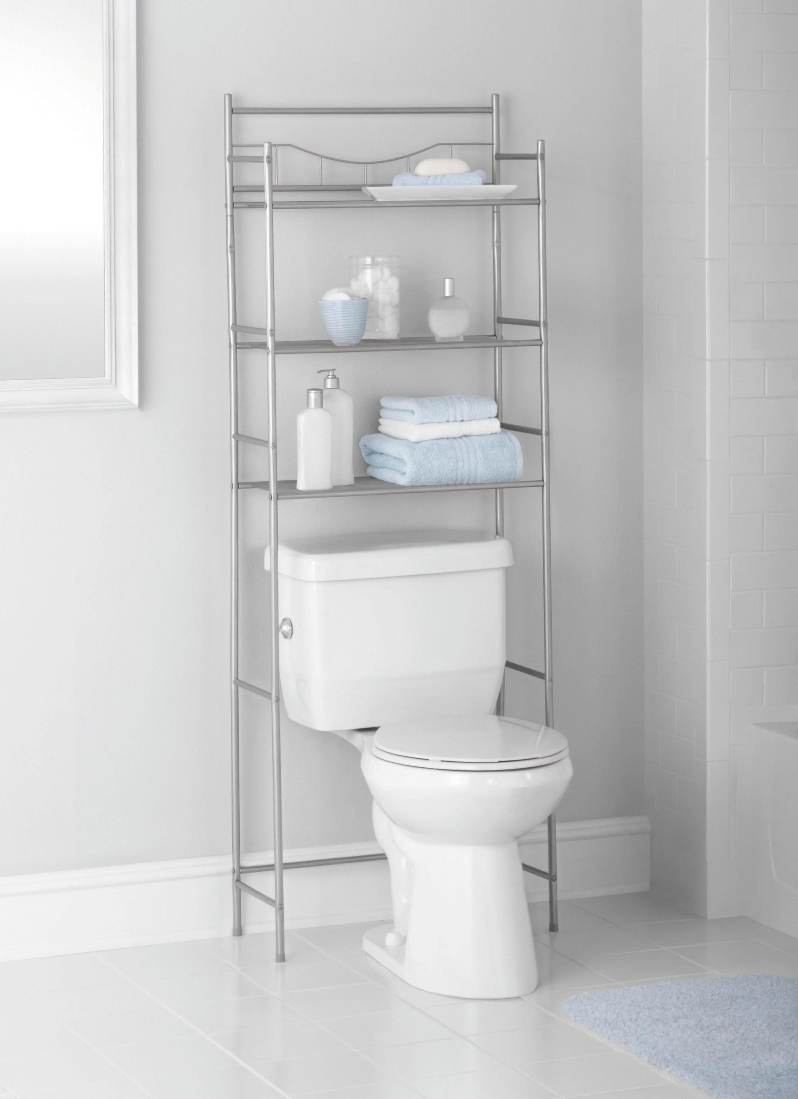 mainstays 3 shelf bathroom over the toilet space saver with liner satin nickel walmart com